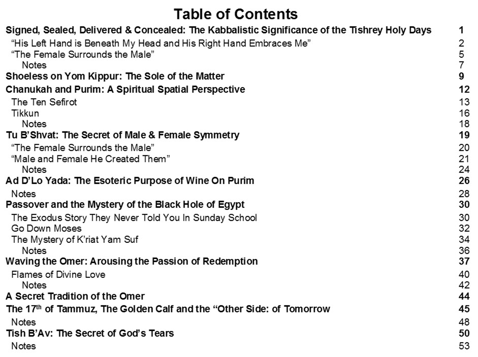 Cosmology of the Jewish Holy Days_Table of Contents